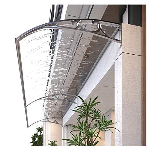Toldo para puerta de entrada o ventana, toldo para porche resistente y duradero, toldo para lluvia, lámina de policarbonato para PC, soporte de aluminio, toldo arqueado, transparente, 120 X 200cm