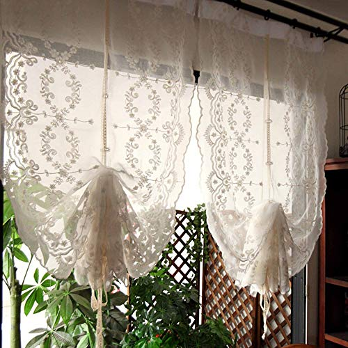 """Country Style Pull Up Balloon Sheer Curtain with Embroidered Floral Patterns Beige Tie Up Adjustable Farmhouse Window Treatment Shades Valance 1 Panel (32"""" Wx68 L)"""
