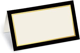 PaperDirect Black Debonaire Folded Place Cards, Gold Foil, 100 Count