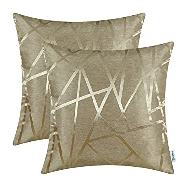 CaliTime Pack of 2 Throw Pillow Covers Cases for Couch Sofa Home Decor, Modern Triangles Abstract Lines Geometric, 18 X 18 Inches, Amber Gold