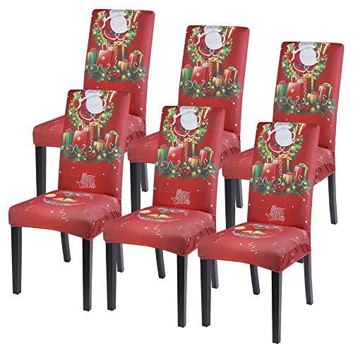 HIFUAR Coprisedia Natalizio Elasticizzato Coprisedie Da Pranzo Per Natale Lavabile Durevole Stampato Fodere Del Sedile Con Schienale Per Sala Da Pranzo Hotel Cucina Banchetto,6 Pezzi,Rosso