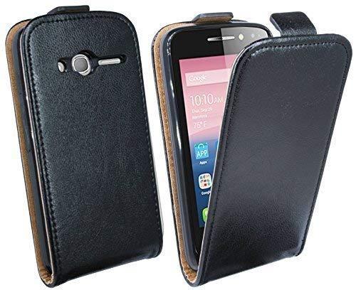 ENERGMiX Klapptasche Schutztasche kompatibel mit Alcatel One Touch Pixi 4 (4.0 Zoll) in Schwarz Tasche Hülle