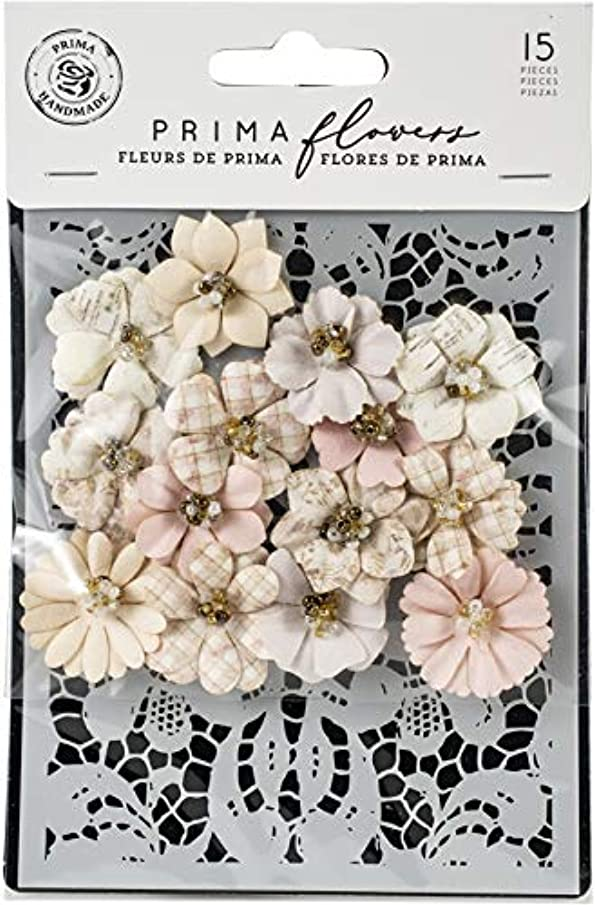 Prima Marketing 635114 Lavender Frost Mulberry Paper Flowers 15/Pkg-Garden Petals W/Stencil