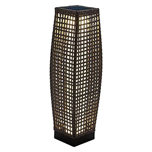 Grand Patio Outdoor Solar Powered Resin Wicker Floor Lamp, Outdoor Weather-Resistant Deck Light, for Garden or Porch (Dark Gray)