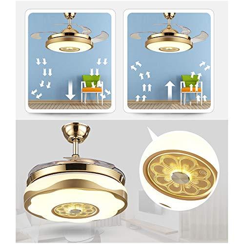 Luz Del Ventilador Ventilador De Techo Iluminación Sala De Estar Invisible Ambiente Candelabro For El Hogar Restaurante LED Dormitorio Lámpara De Cristal Yang1mn (Color : D)
