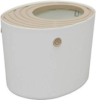 Cat Litter Box Top Entry Hooded Cat Pan Litter Tray Toilet, Splashproof Hygienic, Deodorizing Odour Free WULE01 (Color : W...