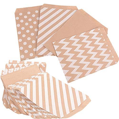 JNCH 100 STK / 4 Muster Papiertüten Geschenktüten Weihnachten Tüten Papier Beutel Ostern Papiertaschen Geschenk Papierbeutel Hochzeit Süßigkeiten