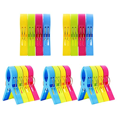 DEEBF 20 Pack Towel Clips Chair Clips Towel Holder for Pool Chairs on Cruise-Jumbo Size,Plastic Clothes Pegs Hanging Clip Clamps to Keep Your Towel from Blowing Away,Fashion Bright Color