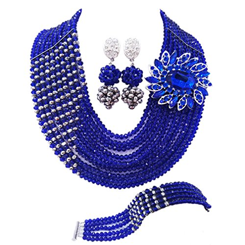 aczuv 10 Rows Fashion African Wedding Beads Nigerian Beaded Jewelry Set Bridal Party Jewelry Sets (Royal Blue and Silver)