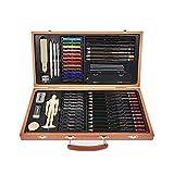 FLOWood Set di Matite di Disegno,58 Pezzi Arte Set in Scatola di Legno,Artistico Kit per Schizzo e...