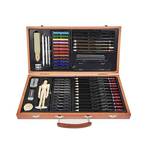 FLOWood Potlood-tekenset, schetsstiften, set en tekenen, professionele kunst set met hoogwaardige schilderkoffer, voor beginners, kunstenaars, kinderen art set box