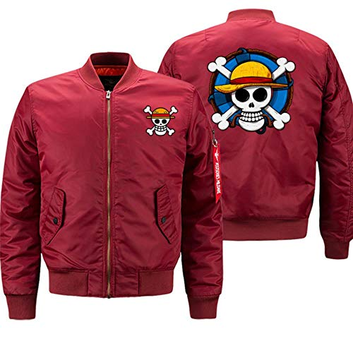 FHKGCD Anime One Piece Autumn Winter Coat Thick Jackets Men Streetwear Jacket Zipper Motorcycle Bomber,Red,S