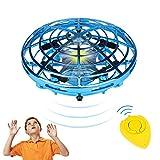 Gaoqian Mini Drone UFO para Niños, Dron Juguete Accionado con Mano o Control Remoto, 2 Modos de Velocidad, 5 LED, Regalos para Niños/ Niñas
