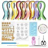 BUZIFU Kit para Hacer Filigrana con 900 Tiras de Papel de Colores y 10 Herramientas para Filigranas de Papel para Diseños Decorativos/Tarjetería/Scrapbooking/Manualidades, para Principiantes o Niños