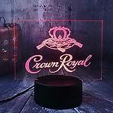Nuevo Crown Royal Logo Whisky Whisky Wine 3D Lámpara de luz nocturna LED Habitación para el hogar Decoración de oficina Año nuevo Navidad