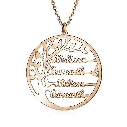 Collana con Nome Personalizzato Argento Sterling 925 Pendente Ciondolo Albero della Vita Famiglia Regalo Mamma Madre Fidanzata Moglie(Oro rosa-22)