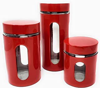 STORAGE CONTAINERS FOR ORGANIZING KITCHEN - 3 Simple Airtight Organizers. Simple Houseware Organization To Keep Food Ingredients Fresh And Your Kitchen And Pantry Looking Brilliant! (Red)