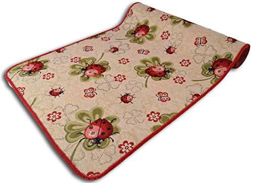 Centesimo Web Shop Tappeto GOMMATO Cucina in 9 Misure Multiuso Lavello Passatoia Antiscivolo Fiori Floreale Fiore Coccinella Natura Quadrifoglio - Rosso - 55x190 cm