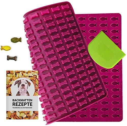 Hueso y pescado de silicona para hornear galletas para perros y golosinas para perros, con 20 recetas gratuitas y juego de espátulas (rojo burdeos)