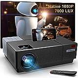 Vidéoprojecteur Full HD, Vidéo Projecteur 1080P Natif 7000 Lux Soutien Son HiFi, Correction Trapézoïdale 4D ±45°, 300'' LED Rétroprojecteur Home Cinéma pour TV Stick PS4 Smartphone Laptop