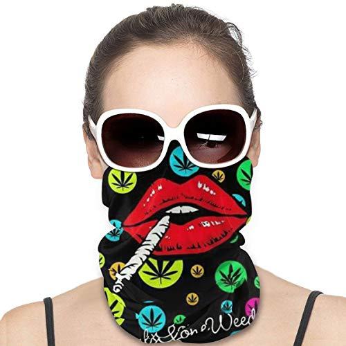 Colorida hoja de marihuana de maleza y fumar labio a prueba de viento de cara escudo multiuso para la cabeza bandana pasamontañas cuello polaina