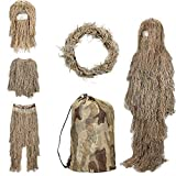 SHINYEVER 5 in 1 Ghillie Suit – 3D Camouflage Hunting Apparel Including Jacket, Pants, Hood, Rifle Wrap, Carry Bag Suitable for Unisex Adults/Kids/Youth (M/L/XL/XXL)