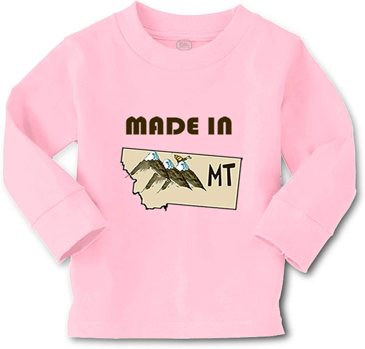 Kids Long Sleeve T Shirt Made in Montana B Cotton Boy & Girl Clothes