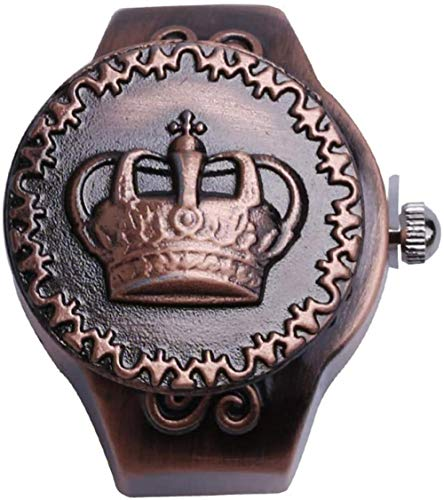 Vintage Crown Elastic Flap Ring Watch Retro Quartz Finger Watch Clamshell Ring Watch Ajustable Stretchy Watchband Mujeres Hombres Relojes de Dedo