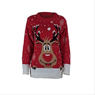AHJSN Jumper Snowman Deer Sweaters New Santa Claus Xmas Patterned Ugly Christmas Sweaters Tops 4XL Red