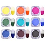 BORN PRETTY Thermal Nail Art Powder Magic Temperature Change Color Glitter Powder Summer Manicure Pigment Dust 12 Colors with 20Pcs Eye Shadow Brush