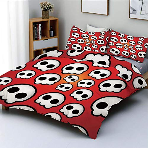 Duplex Print Duvet Cover Set King Size,Contemporary Illustration of Various Sized Cute Skulls Teen Youth Emo DesignDecorative 3 Piece Bedding Set with 2 Pillow Sham,Red White Black,Best Gift for Kids