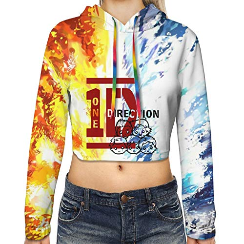 One Direction Hoodie Women's Crop Top Hooded Sweatshirt Cropped Pullover for Girl Black