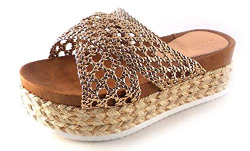 Sandalias con Plataforma D'Angela de Tiras Trenzadas Color Bronce (40 EU, Bronce)