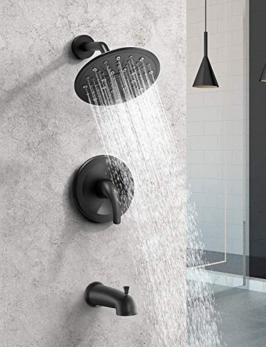 EMBATHER Black Shower Faucet Set with Tub Spout, Dual Function Shower Trim Kit(Rough-in Valve Included) with 9 Inch shower head,Rain Mixer Shower System Wall Mounted Rainfall Shower Combo Set