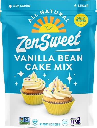ZenSweet Baking Vanilla Bean Cake Mix - Naturally Gluten Free & Grain Free, Low Carb, Sugar Free, Zero Glycemic Index, Non GMO, Keto Paleo Vegan & Diabetic Friendly (11.7 oz, Pack of 1)