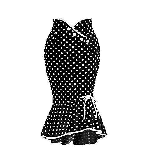 U/A Falda de mujer con botón de encaje con estampado de puntos Negro Negro ( 40