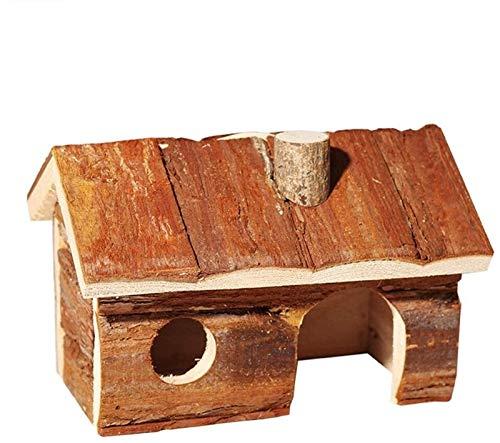 NOCEVCX Hamster Camas de Madera Roedor hámster Casa Casa Hogar for Mascotas hámsters Los jerbos No Piso Casa Rata (Color: El Color del Cuadro, Tamaño: 20x13x13cm)