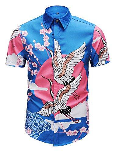 PIZOFF Men's Short Sleeve Luxury Print Dress Shirt Y1782-40-M Pink Blue