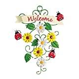 Collections Etc Lady Bug and Sunflower Welcome Sign Metal Door Decor with Scrolling and Banner Design