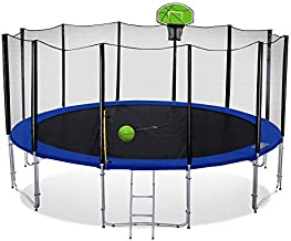 Exacme 15 Foot Outdoor Round Trampoline with Basketball Hoop and Enclosure Net for Kids, Green T15+BH04GR