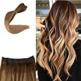 Full Shine Halo Extensions Balayage Straight With Clips 16 Inch Color 4 Fading To 10 Golden Brown and 16 Human Hair Invisible Halo Wire Extensions 80 Gram Real Remi Hairpiece