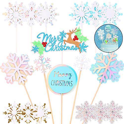Gukasxi Adorno para Cupcakes navideños,18 Piezas de Adornos para Tartas con Copos de Nieve de Elk, Palillos de Dientes, Adornos para Tartas de cumpleaños para Bodas,para Regalos de Fiesta