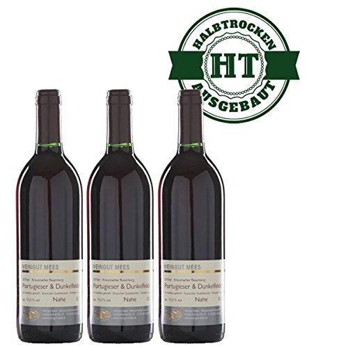 Rotwein Nahe Portugieser und Dunkelfelder Weingut Roland Mees Kreuznacher Rosenberg halbtrocken (3x0,75l)