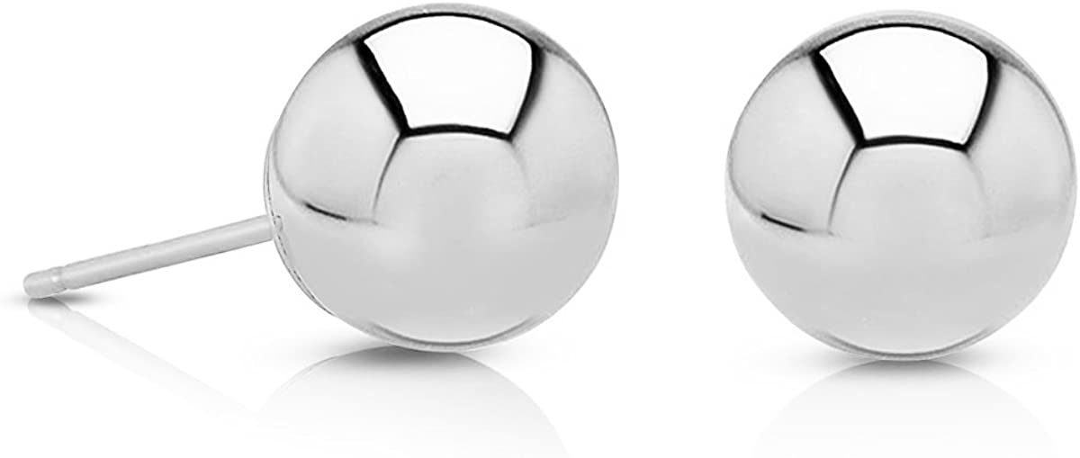 Premium Polished 14K Gold Round Ball Stud Earrings with Pushback, 2mm - 8mm (8, white-gold)