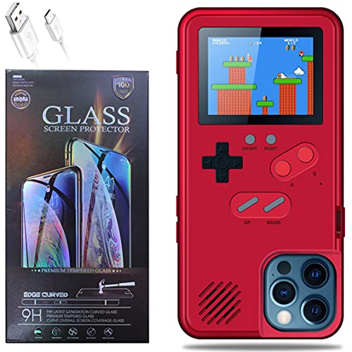 Benelet Gameboy Phone Case for iPhone with Clear Glass Screen Protector,Retro Gaming iPhone Case 36 Classic Games,Mario,Handheld Game Console Case(Red, iPhone 11), BGIPC112