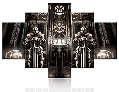 Ancient Cathedral Picture Wall Art Abstract Knights Painting on Canvas Medieval Warrior Wall Art Vintage Poster and Prints Home Decor Living Room Framed Stretched Ready to Hang 5 Panel(60''W x 40''H)