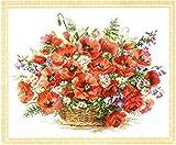 PJX Kits de punto de cruz estampados, kits de manualidades de bordado populares kit de punto de cruz Alisa Flower Poppy Opium Flower Alisa 2 – 28 flores-14 ct Count Set 40 cm50 cm