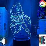 KangYD Figura de Dragon Ball Vegeta IV con luz nocturna 3D, lámpara de ilusión LED, E - Base para despertador (7 colores), Lámpara de escritorio, Decoración del bar