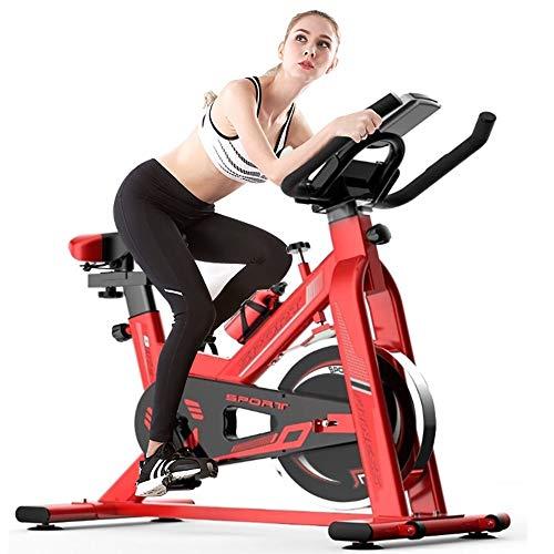 YAJAN Bicicleta Indoor Bicicleta de Spinning Calidad Profesional, Rueda de Inercia Bidireccional con Transmisión por Correa Silenciosa Asiento Ajustable Pantalla LCD
