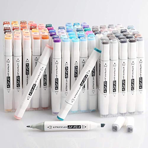 30 Colors Skin Tone Markers Dual Tip Marker Set, Grayscale Markers Set, Blue Tone Art Marker Pen Alcohol Based Art Markers Artist Permanent Sketch Manga Marker Pens whit Upgraded Case for Portrait Ill